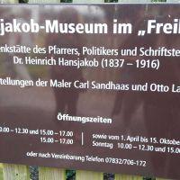 Die Oeffnungszeiten des Hansjakob-Museums