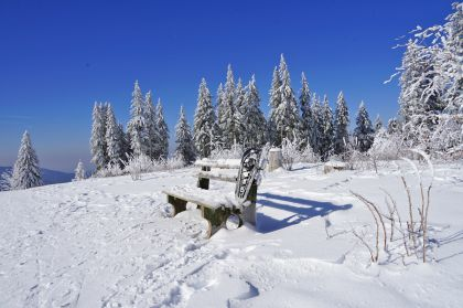 Der letzte Wintertag: Furtwangen, Schneeschuh, Bank, Brend